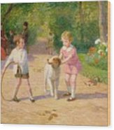 Playing With The Hoop Wood Print by Victor Gabriel Gilbert