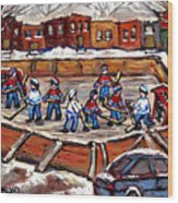 Playoff Time At The Local Hockey Rink Montreal Winter Scenes Paintings Best Canadian Art C Spandau Wood Print