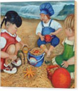 Playtime At The Beach Wood Print