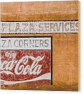 Plaza Corner Coca Cola Sign Wood Print