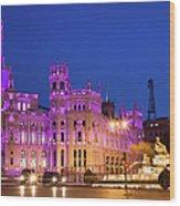 Plaza De Cibeles In Madrid Wood Print