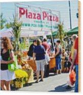 Plaza Pizza Wood Print