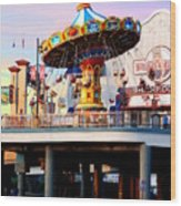 Pleasure Pier Wood Print