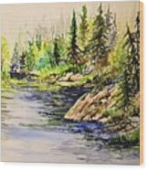 Plein Air At Nutimik Lake In Manitoba Wood Print