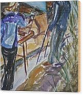 Plein Air Painters - Original Watercolor Wood Print