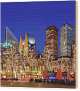 Plein At Blue Hour - The Hague Wood Print