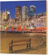 Plein Square At Night - The Hague Wood Print