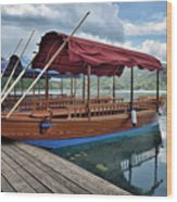 Pletna Boats Of Lake Bled Wood Print