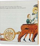 Ploughing, 12th Century Wood Print