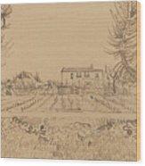 Ploughman In The Fields Near Arles 1888 Wood Print