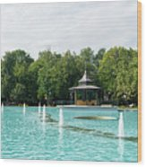Plovdiv Singing Fountains - Bright Aquamarine Water Dancing Jets And Music Wood Print