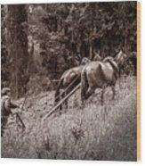 Plowman And Team Of Horses Wood Print