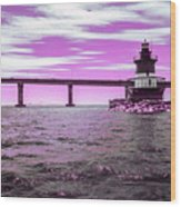 Plum Beach Lighthouse In Ir Wood Print