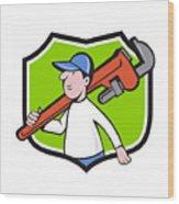 Plumber Holding Monkey Wrench Crest Cartoon Wood Print