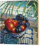 Plumbs And Nectarines Wood Print