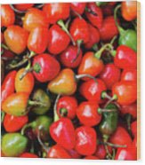 Plump Red Peppers Photo Stock Wood Print