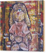 Plush Shaggy Toy Doggie Wood Print