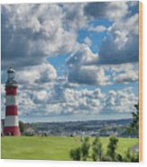 Plymouth Hoe And Smeatons Tower Wood Print