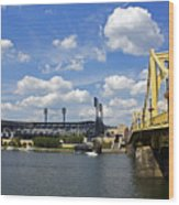 Pnc Park And Roberto Clemente Bridge Pittsburgh Pa Wood Print by Kristen Vota