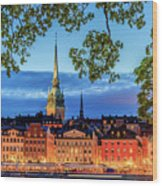 Poetic Stockholm Blue Hour Wood Print