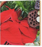 Poinsettia Basket For Christmas Wood Print