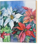 Poinsettia Gifts Wood Print