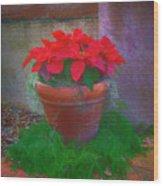 Poinsettia Pot Wood Print