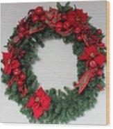 Poinsettia Wreath Wood Print