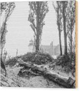 Point Betsie Lighthouse In Fog Wood Print
