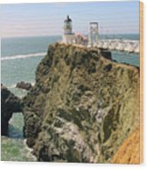 Point Bonita Lighthouse In Marin County California Wood Print