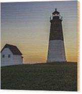 Point Judith Light At Sunset Wood Print