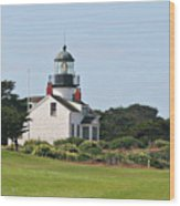 Point Pinos Light - Lighthouse On The Golf Course - Pacific Grove Monterey Central Ca Wood Print by Christine Till