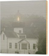 Point Pinos Lighthouse In A Foggy Night - Pacific Grove Monterey Central Ca Wood Print by Christine Till