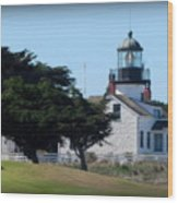 Point Pinos Lighthouse In Pacific Grove, California Wood Print