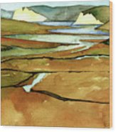 Point Reyes, Ca, Drakes Beach Estuary, Midday Tide, Watercolor Plein Air Wood Print