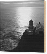 Point Reyes Lighthouse - Black And White Wood Print
