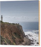 Point Vicente Lighthouse In Winter Wood Print by Heidi Smith