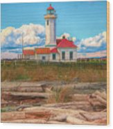 Point Wilson Lighthouse And Driftwood Wood Print