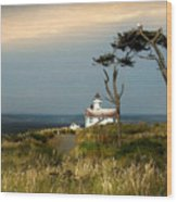 Point Wilson Lighthouse Puget Sound Watercolor Wood Print