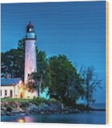 Pointe Aux Barques Lighthouse At Dawn Wood Print