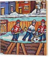 Outdoor Hockey Rink Painting  Devils Vs Rangers Sticks And Jerseys Row House In Winter C Spandau Wood Print