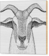 Farm Goat In Pointillism Wood Print