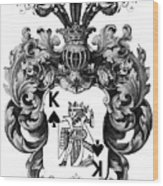 Poker King Spades Black And White Wood Print