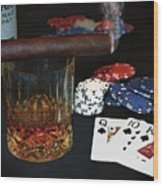 Poker Night Wood Print