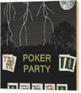 Poker Party  Poker Cards Wood Print