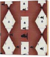 Poker Sharks Wood Print