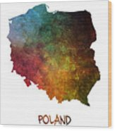 Poland Map Polska Map Wood Print