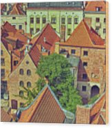 Poland, Torun, Houses. Wood Print