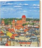Poland, Torun, Urban Landscape. Wood Print