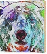 Polar Bear Colored Grunge Wood Print